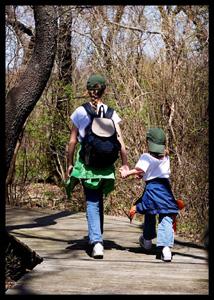 kids walking Mass Audubon Society Wildlife Sanctuary boardwalk