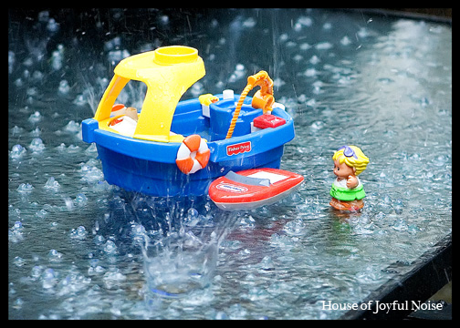 Little People toys in the rain