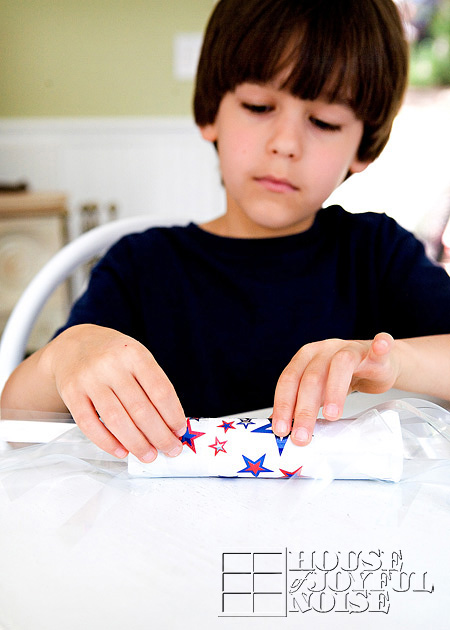 red white and blue July kids craft