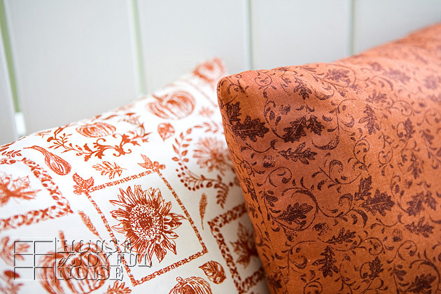 corbers of sewn throw pillows