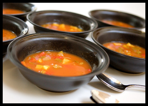 six bowls of soup