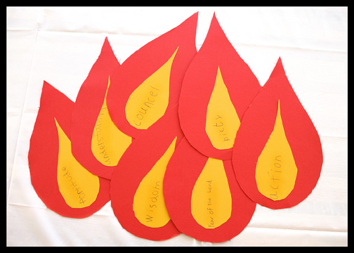 Catholic Pentecost Sunday kids activities 7 gifts flames