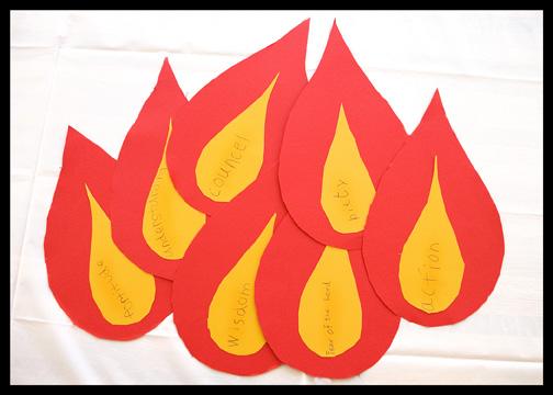 Catholic Pentecost Sunday kids activities 7 gifts flames
