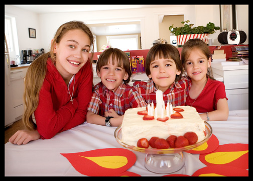 kids and Pentecost Sunday cake