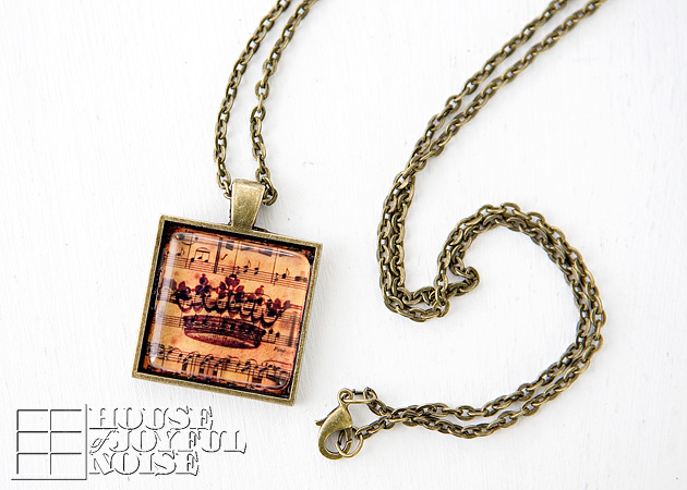 New glass tile pendant tutorial using trays new tips techniques here is a finished pendant on a matching bronze chain i made this one for my sister first she calls great christian tunes jesus music and the crown aloadofball Image collections